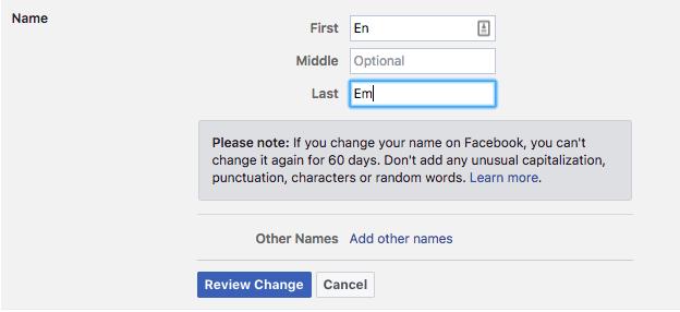 تغییر نام کاربری در فیسبوک