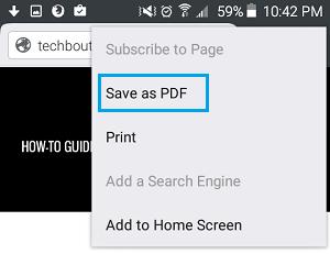 ذخیره صفحه وب در کروم اندروید ,ذخیره صفحه به صورت pdf